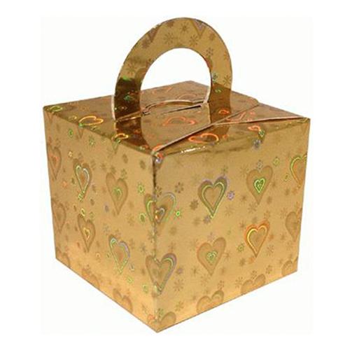 Ballongvikt Presentbox av Papp Guld Holografiska - 10-pack