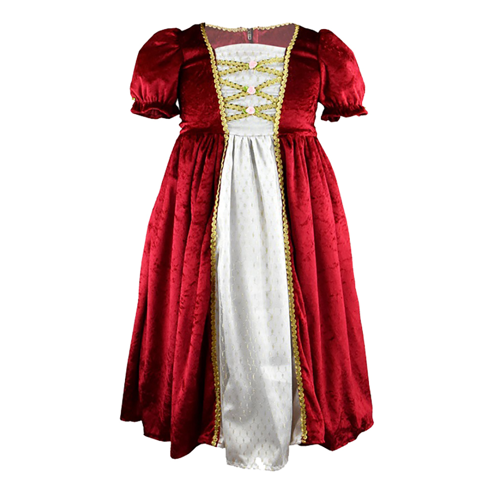 Prinsessklänning Sammetsröd Barn - Small