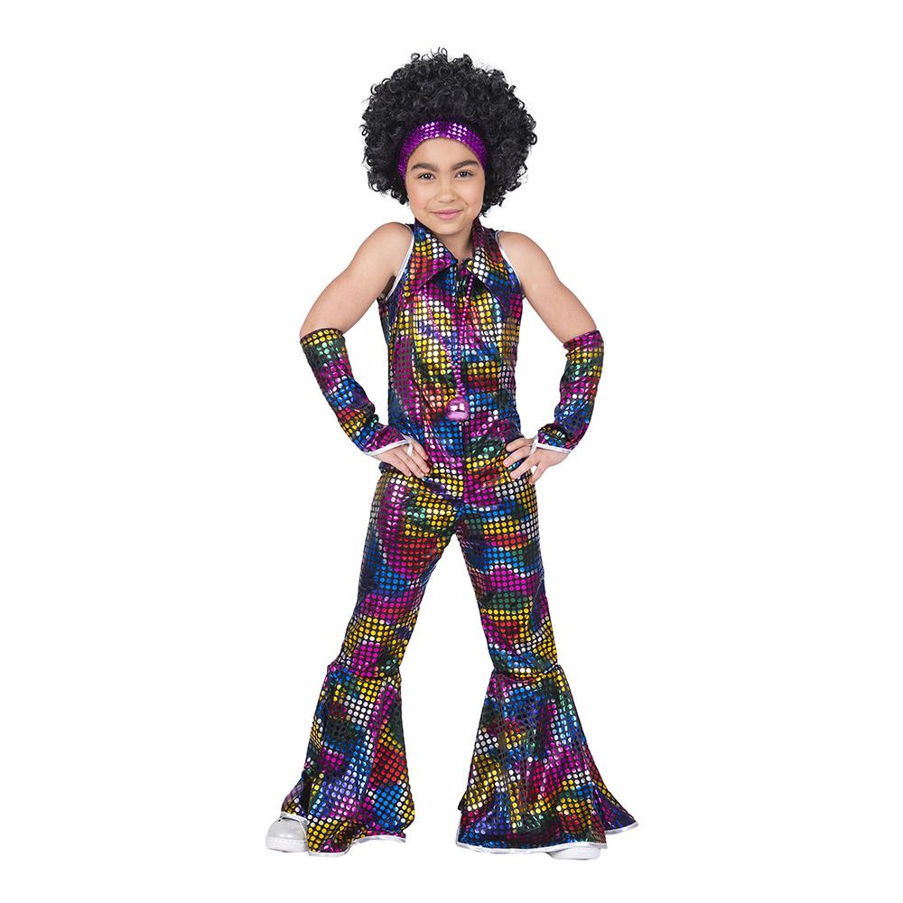 Disco Regnbåge Jumpsuit Barn Maskeraddräkt - Medium