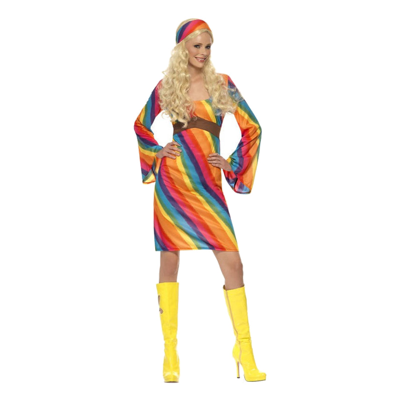 Regnbågs Hippie Maskeraddräkt - Small