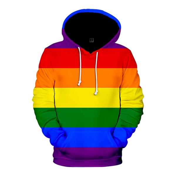 Regnbågsfärgad Hoodie - Large