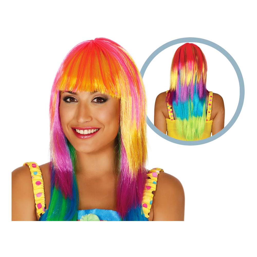 Regnbågsfärgad Peruk med Lugg - One size