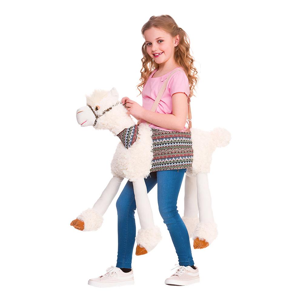 Ridande Lama Vit Barn Maskeraddräkt - One size