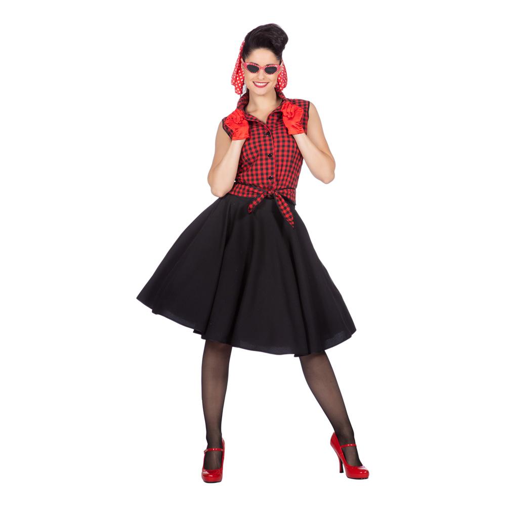 Rockabilly Klänning med Kjol Maskeraddräkt - X-Small