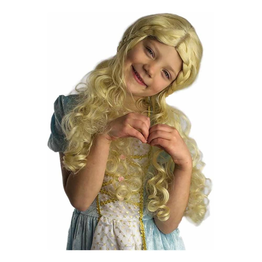 Sagoboksprinsessa Peruk Blond Barn Deluxe - One size