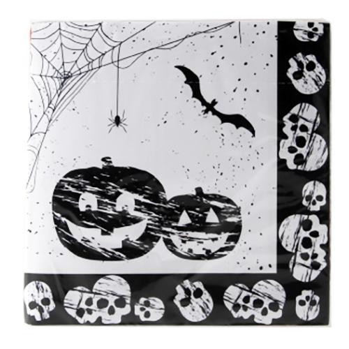 Servetter Halloween Svart/Vita