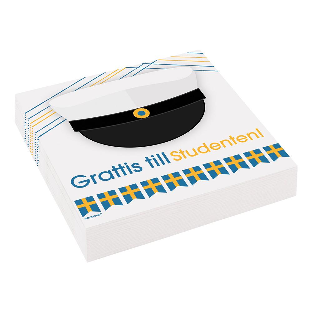Servetter Grattis till Studenten - 20-pack