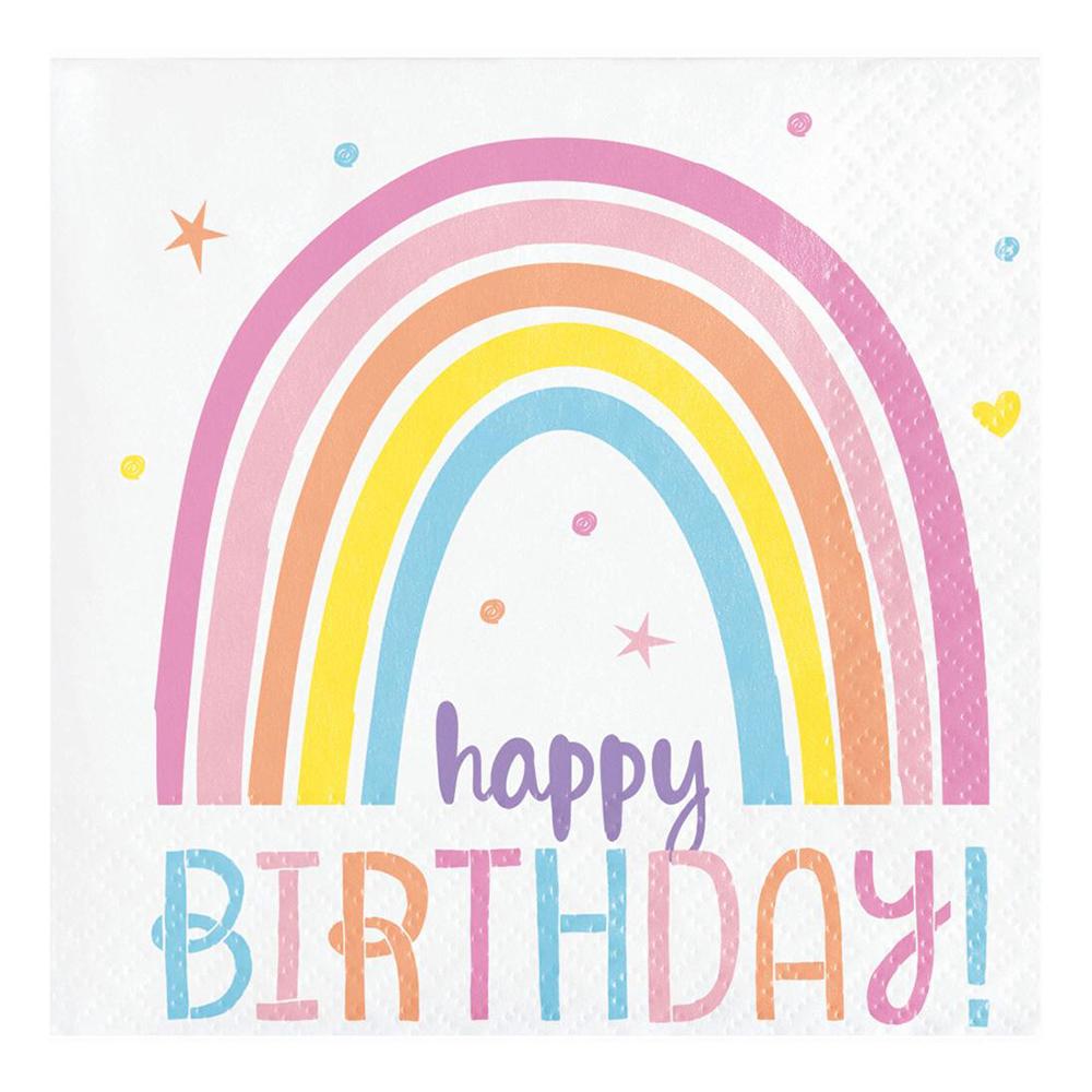 Servetter Happy Birthday Happy Rainbow - 16-pack