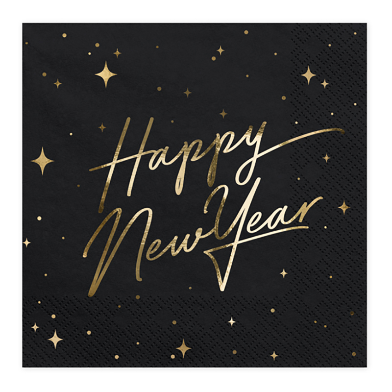 Servetter Happy New Year Guld Metallic/Svart - 20-pack