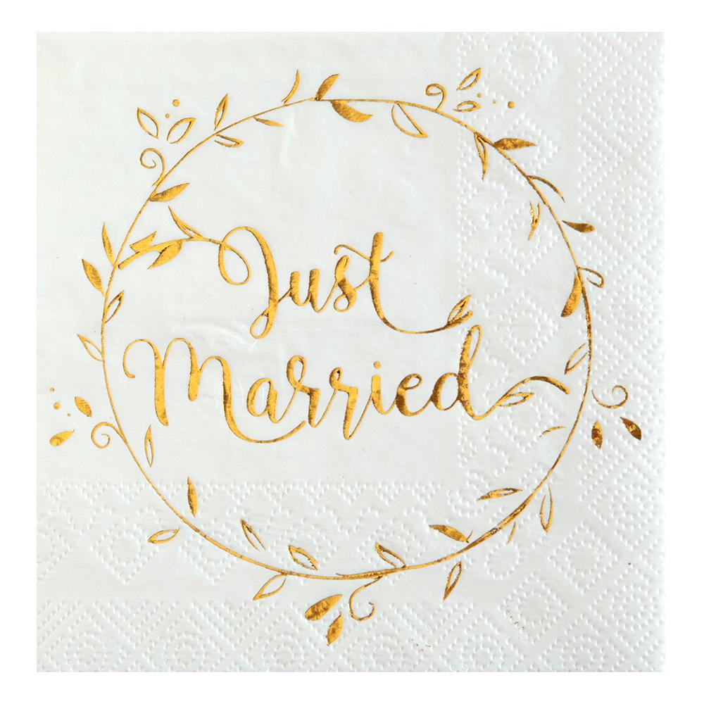 Servetter Just Married Vit/Guld