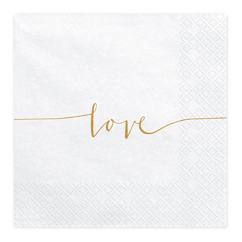 Servetter Love Guld/Vit - 20-pack