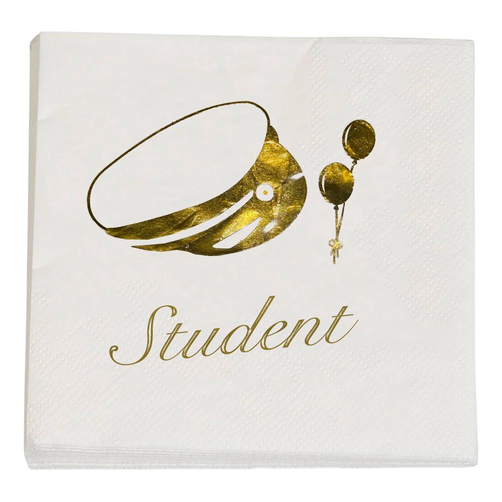 Servetter Student Guld/Vit - 20-pack