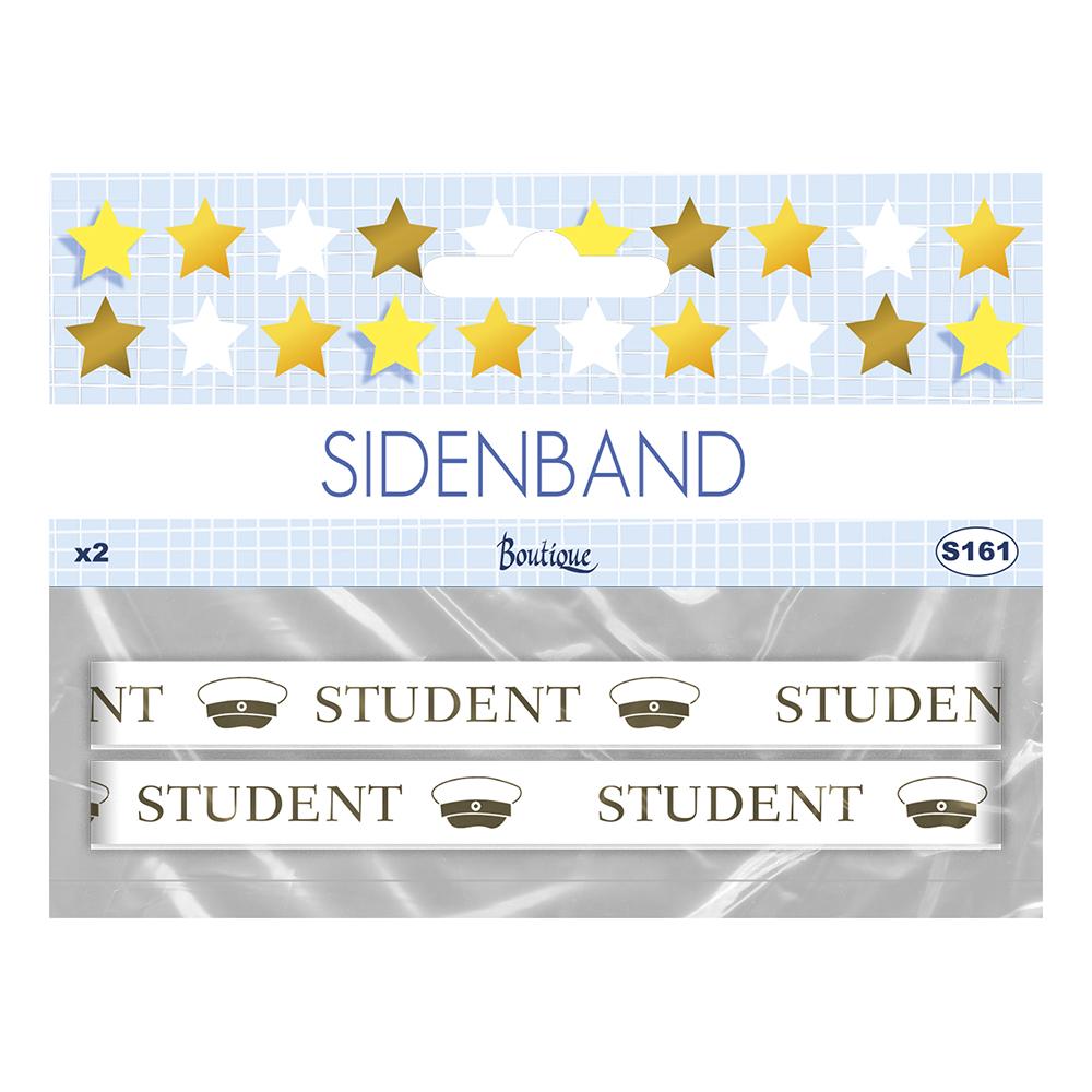 Sidenband Student Vit/Guld - 2-pack
