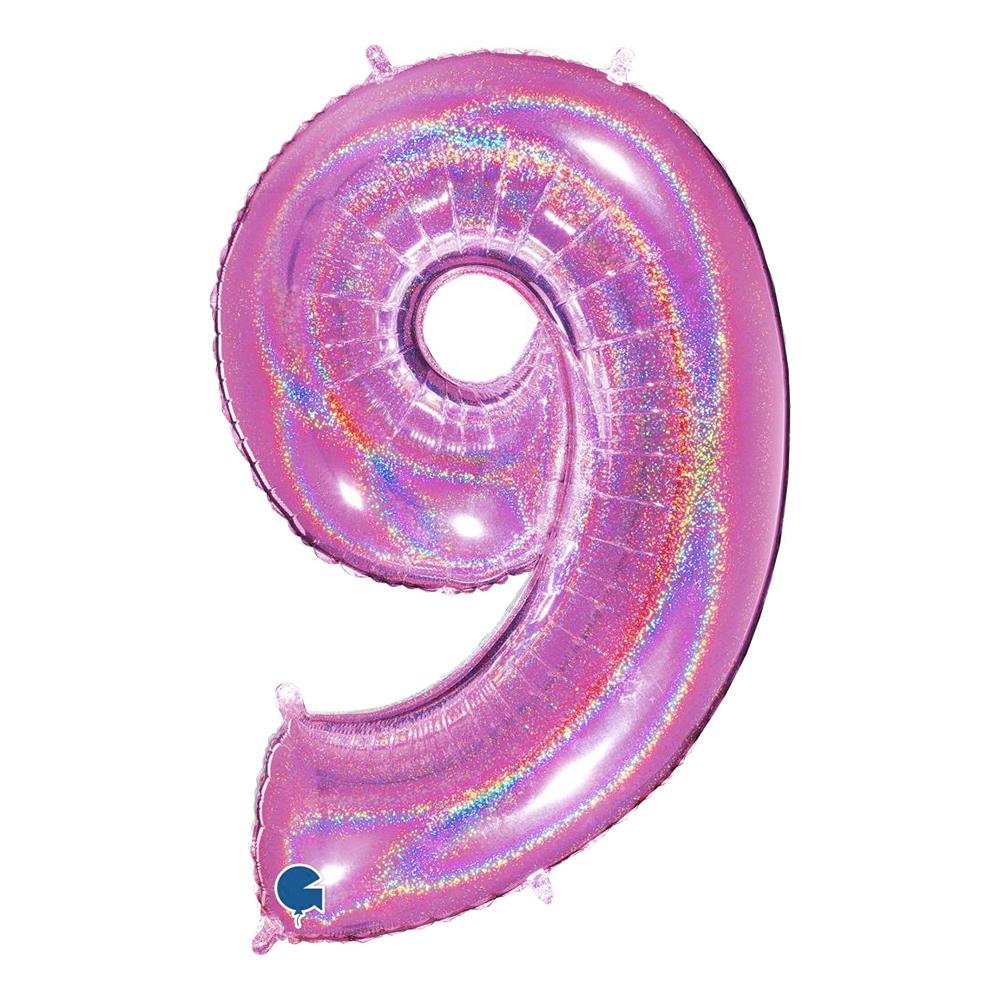 Sifferballong Glitter Rosa - Siffra 9