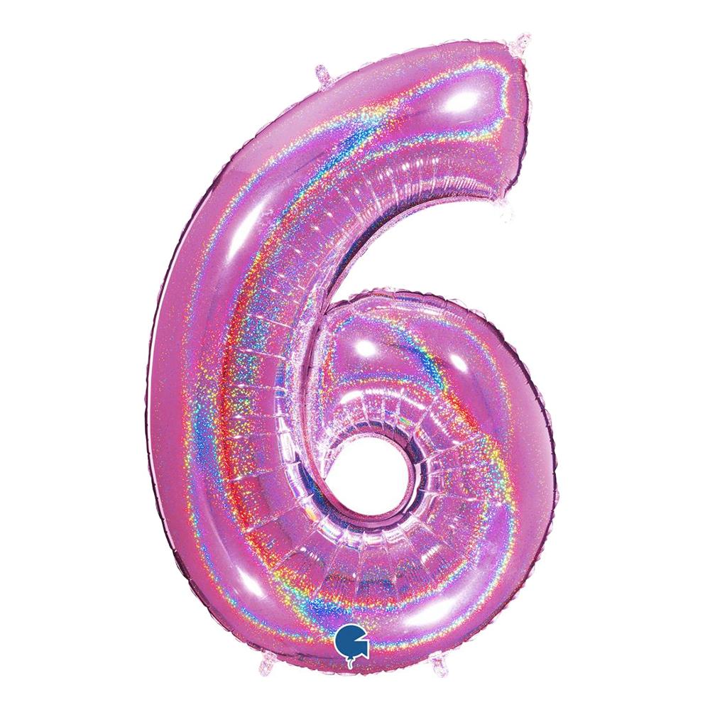 Sifferballong Glitter Rosa - Siffra 6