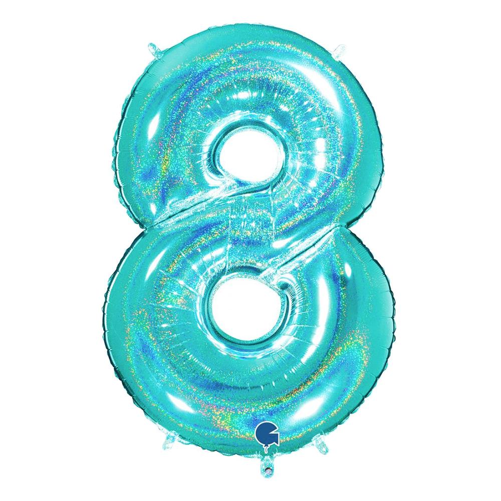 Sifferballong Glitter Turkos - Siffra 8