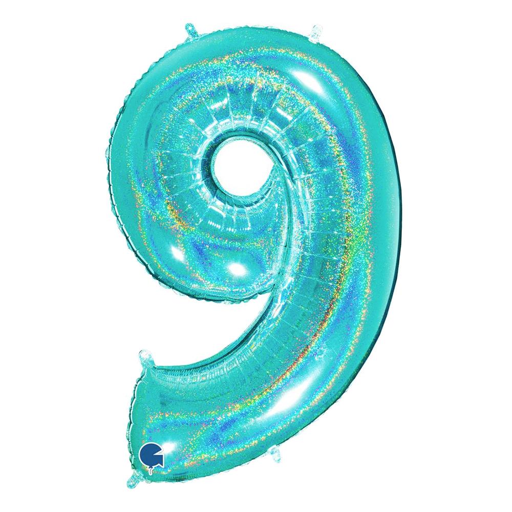 Sifferballong Glitter Turkos - Siffra 9