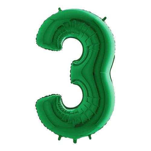Sifferballong Grön Metallic - Siffra 3