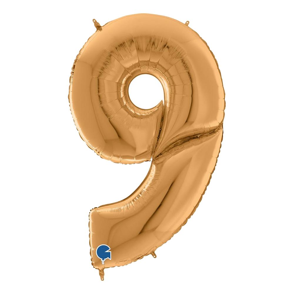 Sifferballong Guld Gigantisk - Siffra 9   Hem//Festartiklar//Ballonger//Folieballonger   Partyoutlet