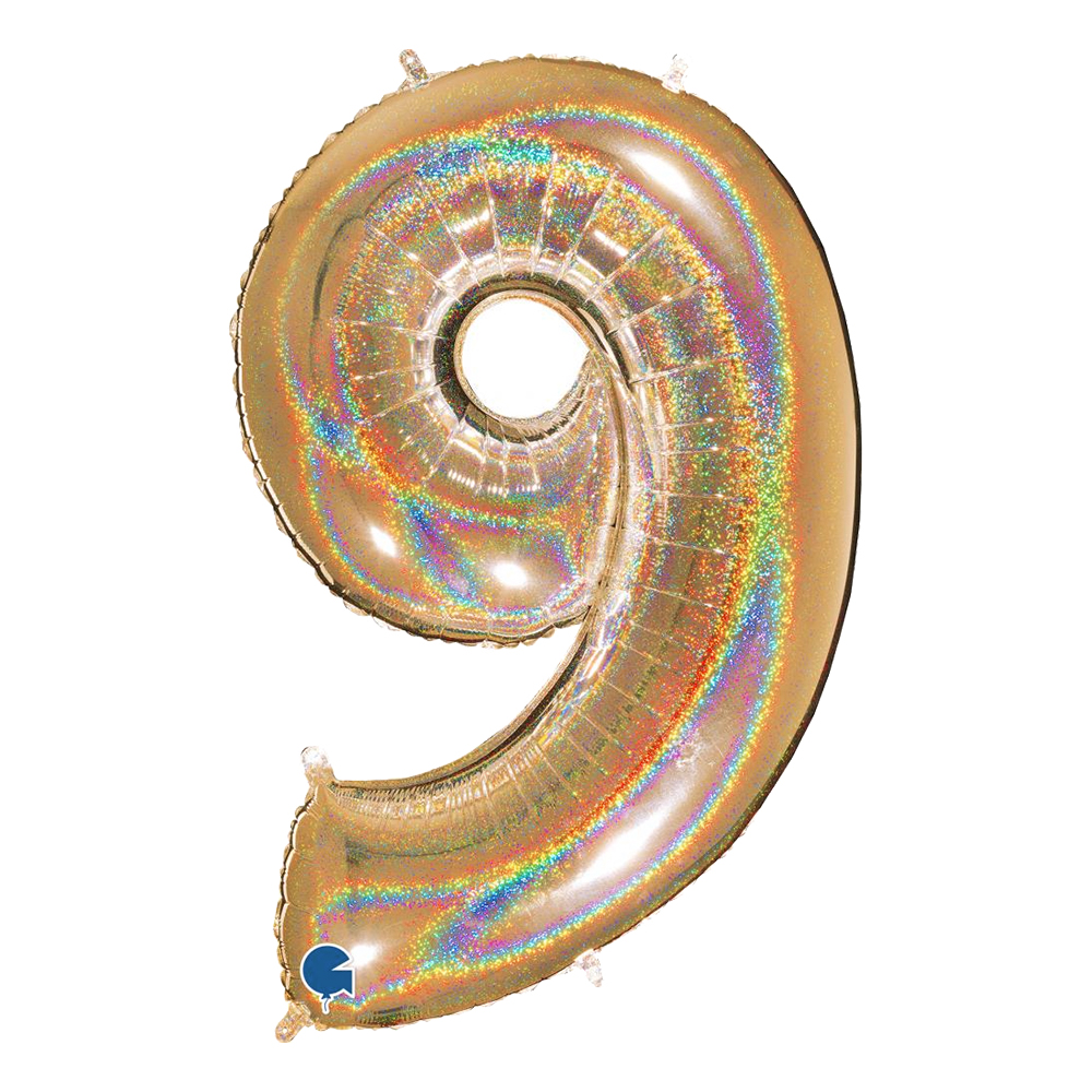 Sifferballong Glitter Guld - Siffra 9