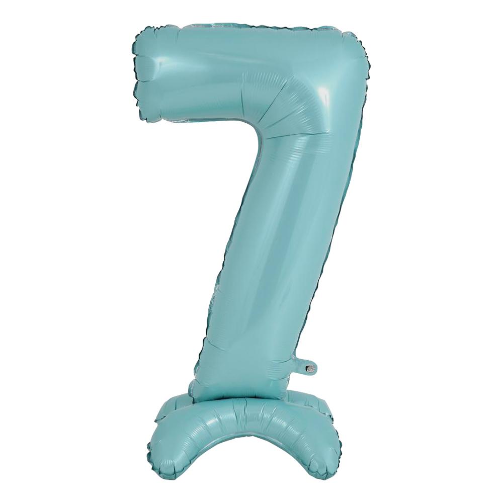 Sifferballong med Ställning Pastellblå - Siffra 7