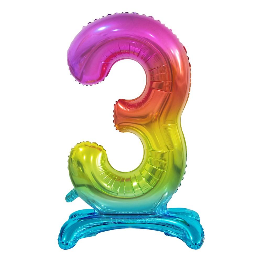 Sifferballong med Ställning Regnbåge Metallic - Siffra 3