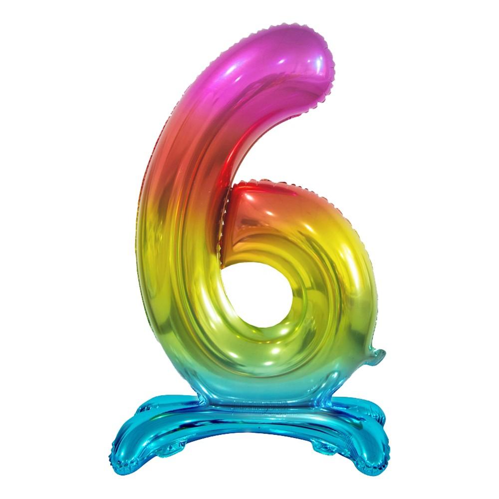 Sifferballong med Ställning Regnbåge Metallic - Siffra 6