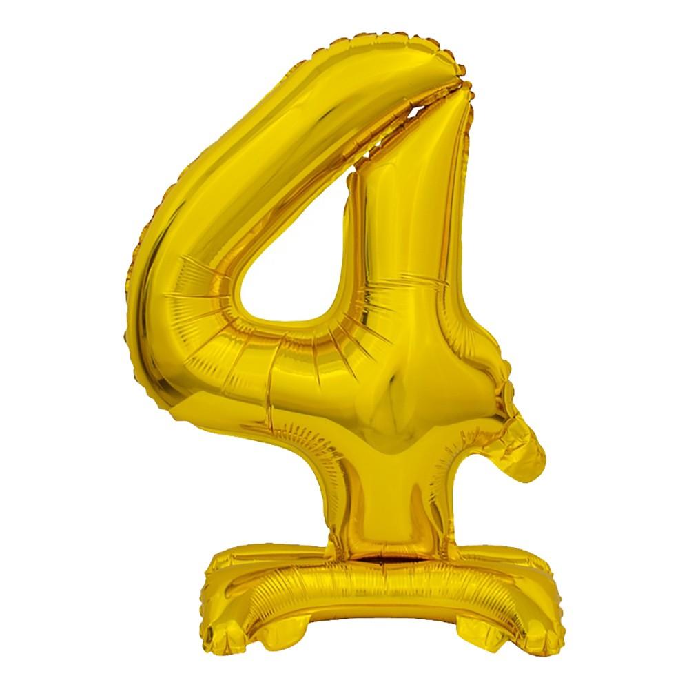 Sifferballong Mini med Ställning Guld Metallic - Siffra 4
