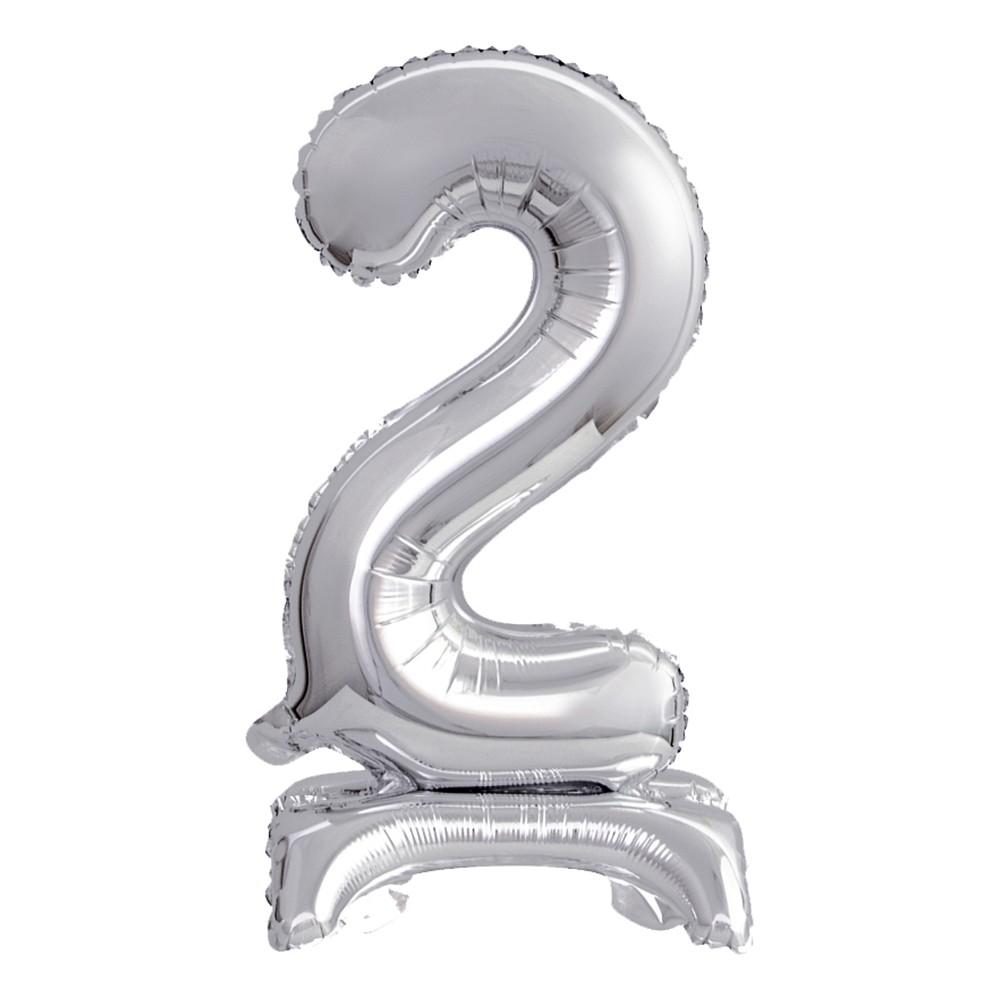 Sifferballong Mini med Ställning Silver Metallic - Siffra 2