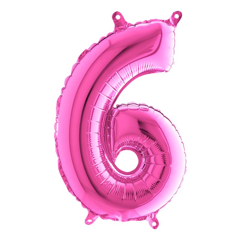 Sifferballong Mini Rosa Metallic - Siffra 6