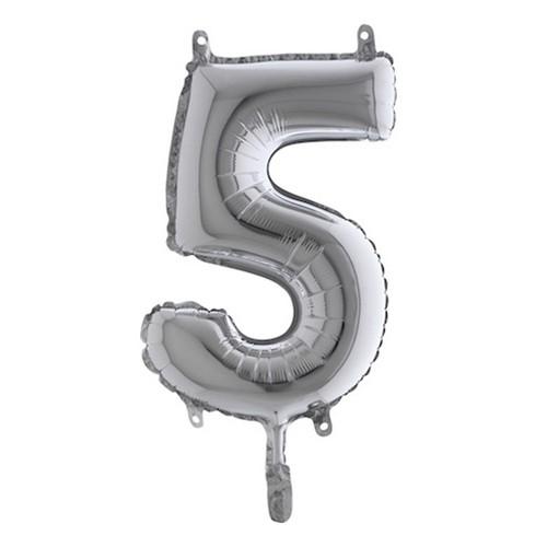 Sifferballong Mini Silver Metallic - Siffra 5