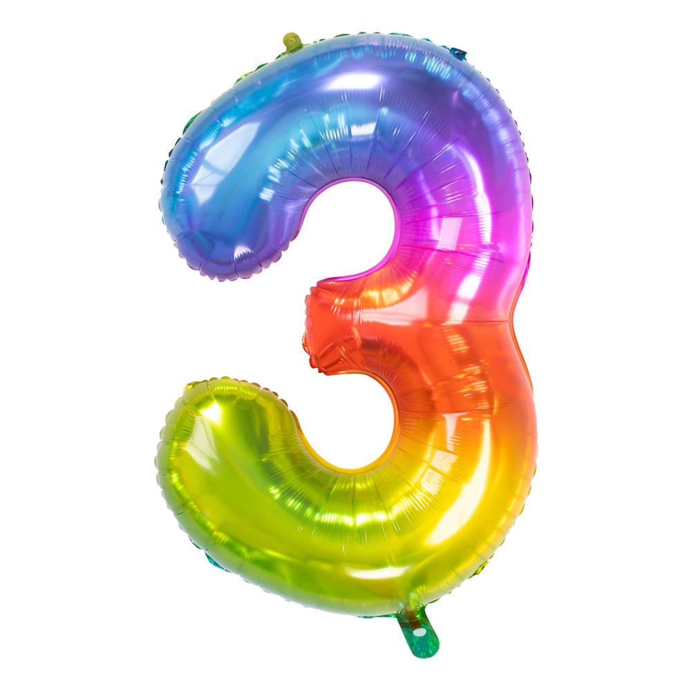 Sifferballong Regnbågsfärgad Stor - Siffra 3