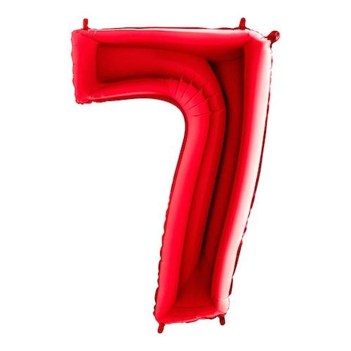 Sifferballong Röd Metallic - Siffra 7