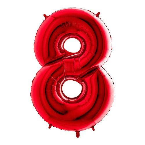 Sifferballong Röd Metallic - Siffra 8