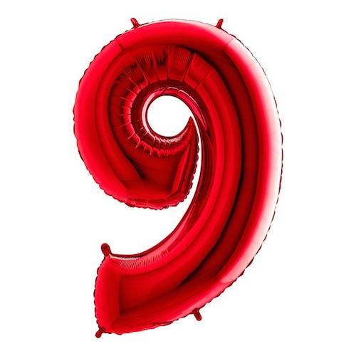 Sifferballong Röd Metallic - Siffra 9