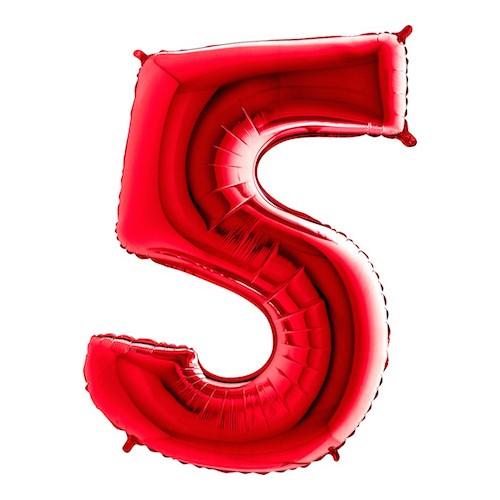 Sifferballong Röd Metallic - Siffra 5