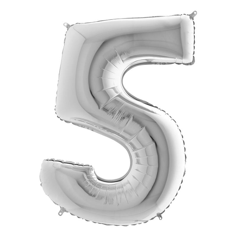 Sifferballong Silver Metallic - Siffra 5