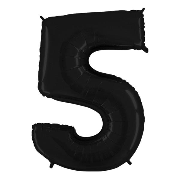 Sifferballong Svart - Siffra 5