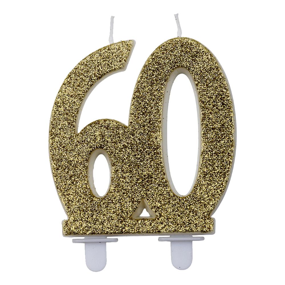 Sifferljus Glitter Guld - Siffra 60