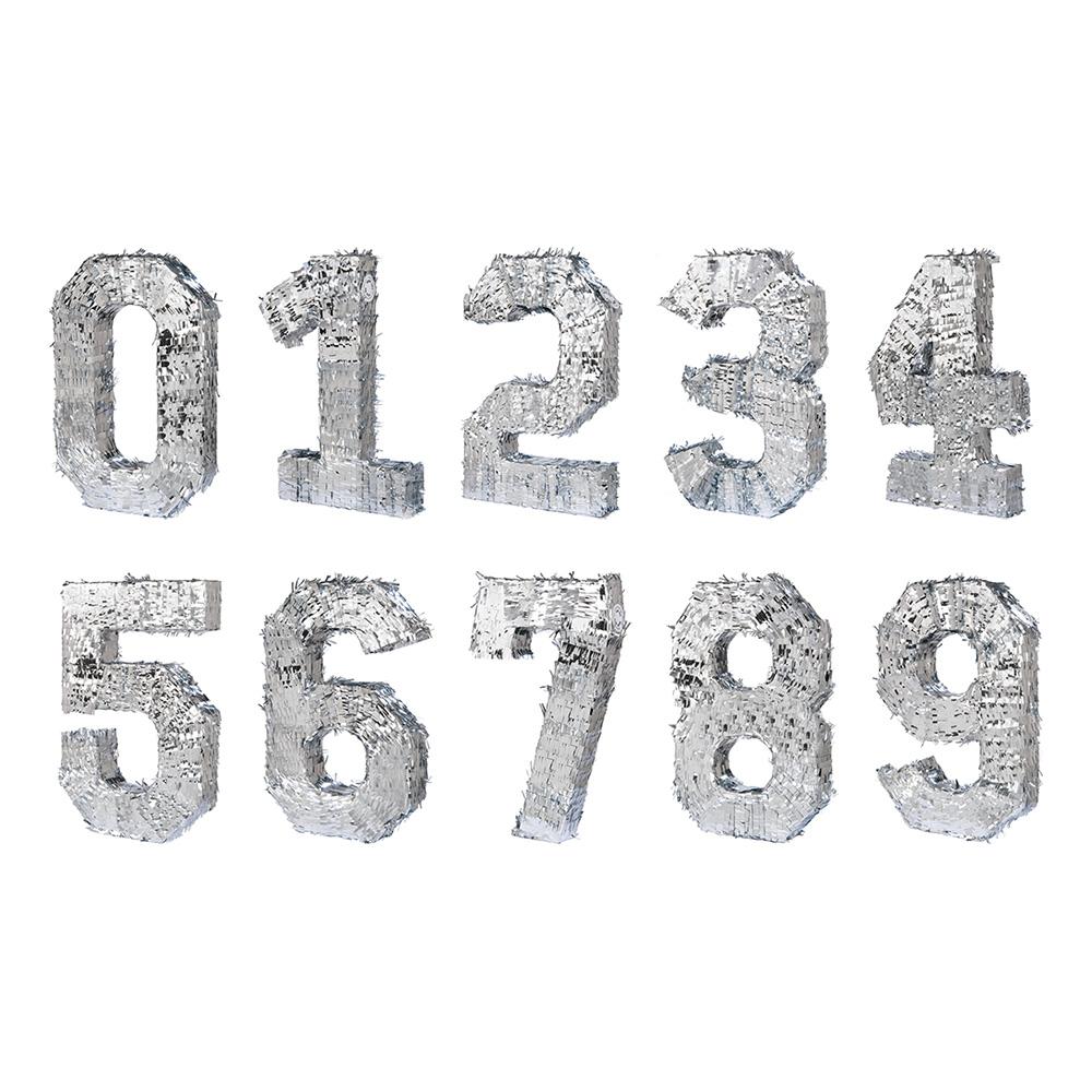 Pinata Siffror Silver - Siffra 0