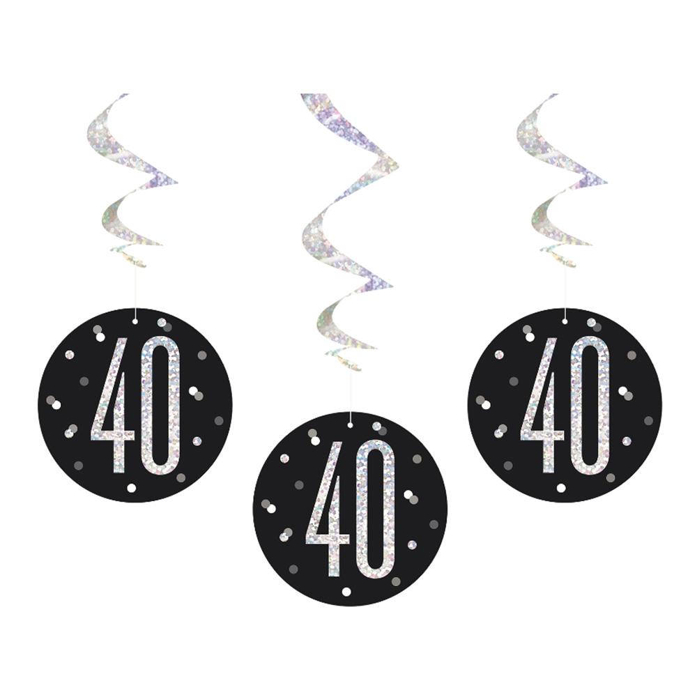 Swirls Siffra 40 Svart/Silver Hängande Dekoration - 6-pack