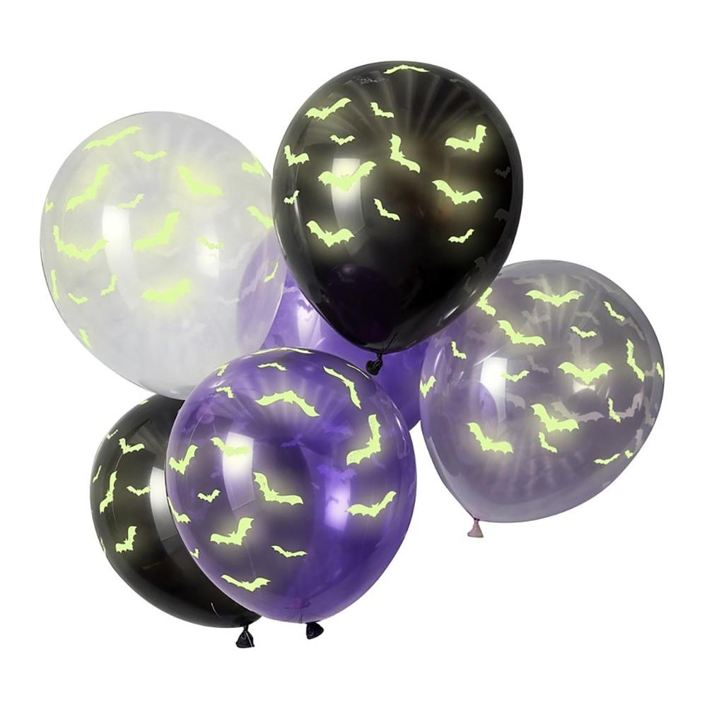 Självlysande Ballonger Fladdermöss Flerfärgad - 6-pack