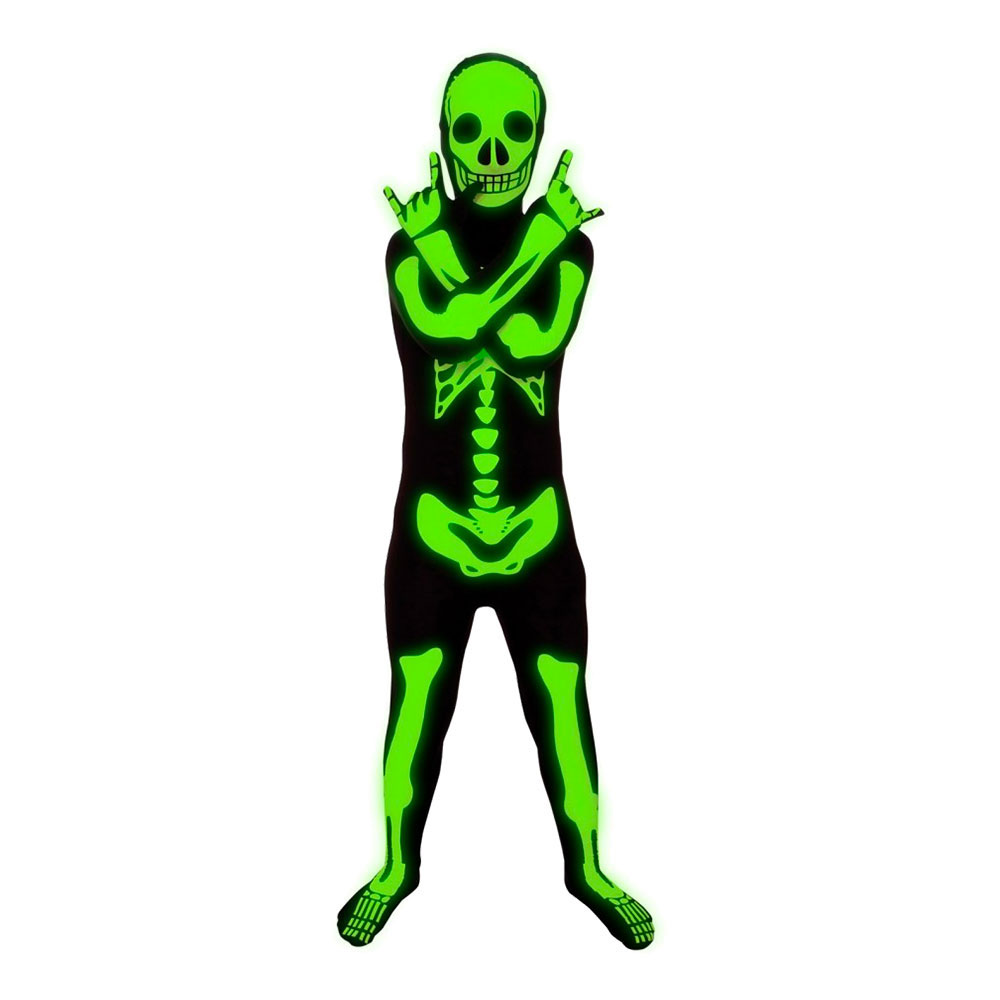 Självlysande Skelett Morphsuit Barn Maskeraddräkt - Small