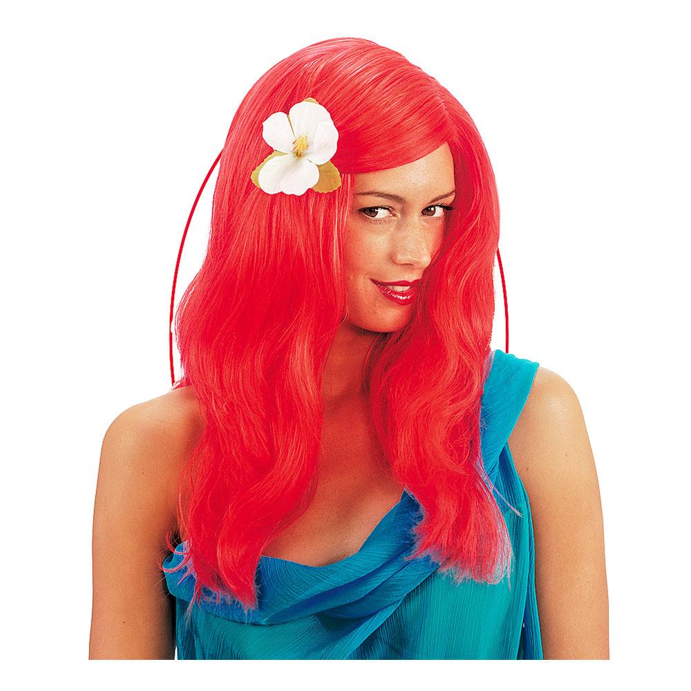 Sjöjungfru Röd Peruk med Blomma - One size