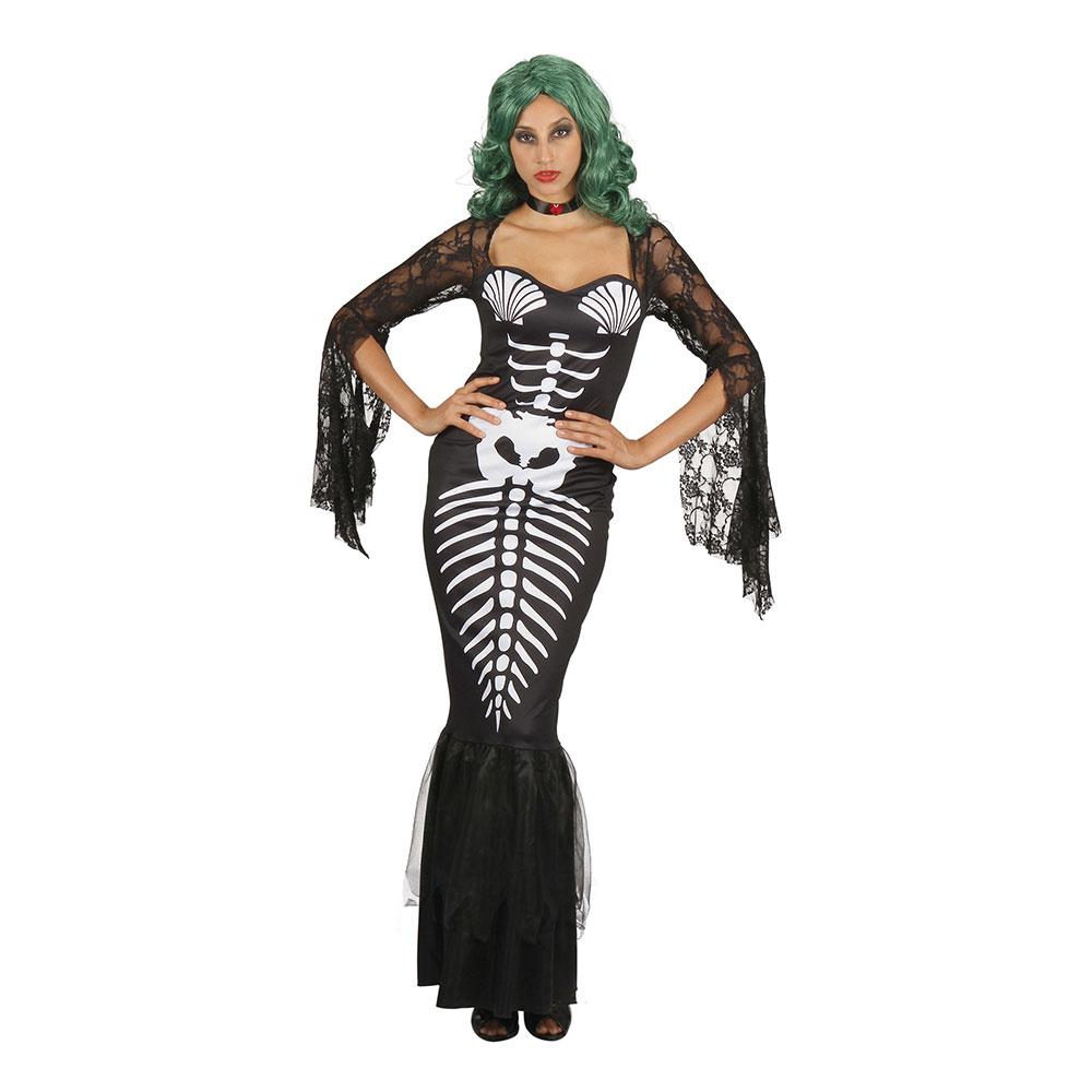 Sjöjungfru Skelettklänning Maskeraddräkt - One size