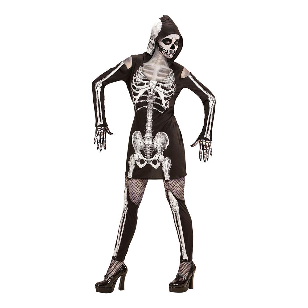 Skelettklänning med Huva Maskeraddräkt - Small