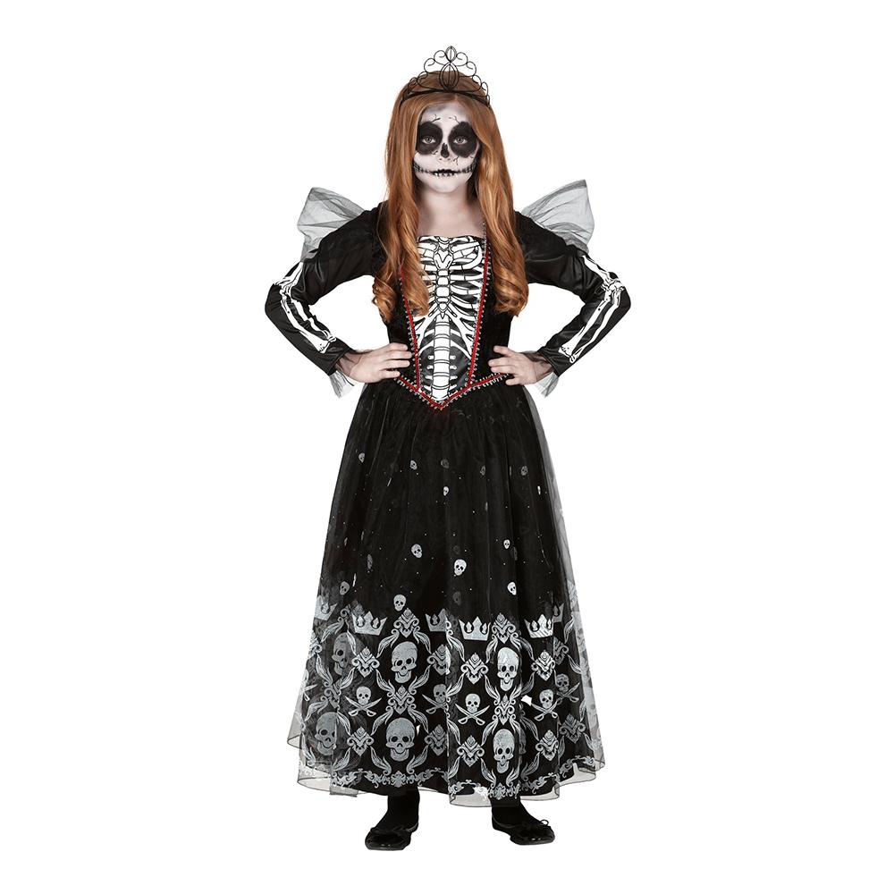 Skelett Prinsessa Barn Maskeraddräkt - Small