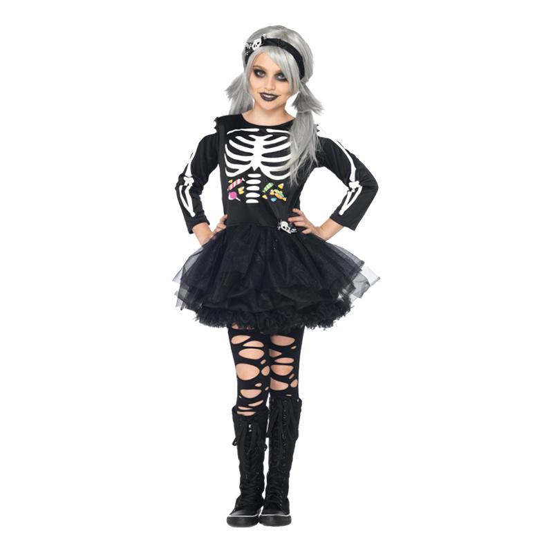 Skelettklänning Barn Maskeraddräkt - Large