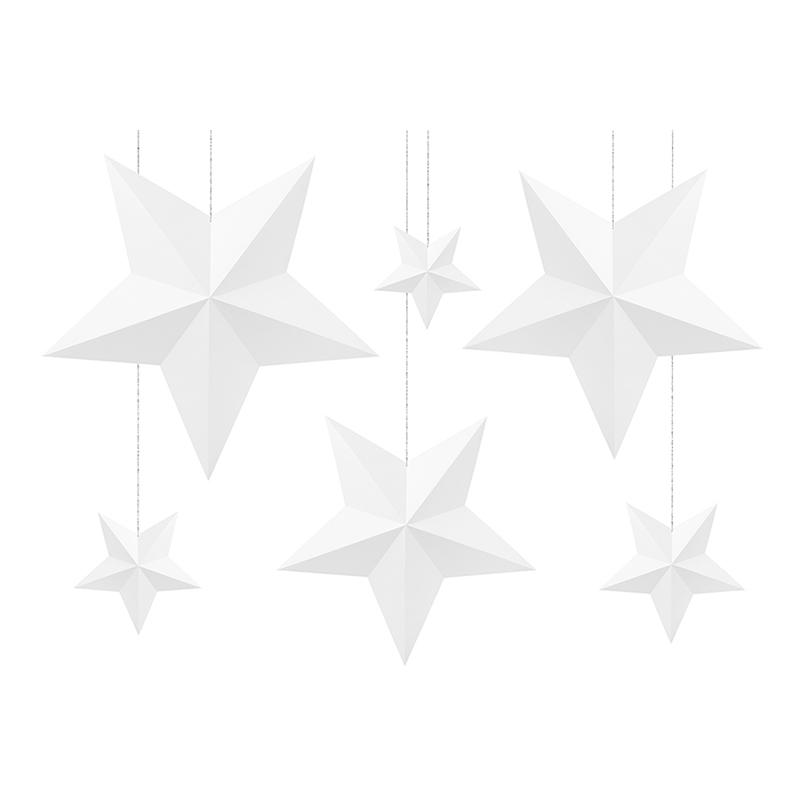 Stjärnor Vita DIY Hängande Dekoration - 6-pack