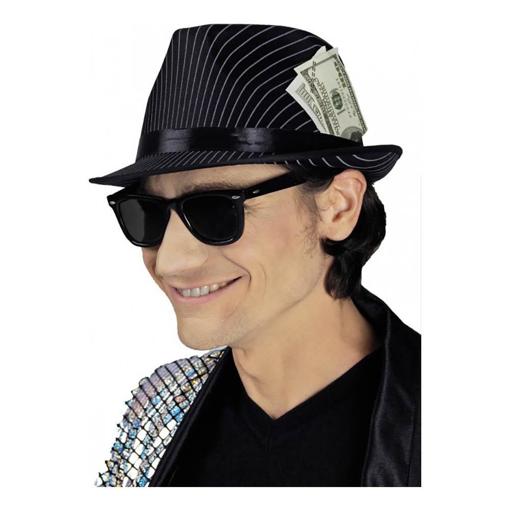 Streckad Gangsterhatt med Pengar - One size